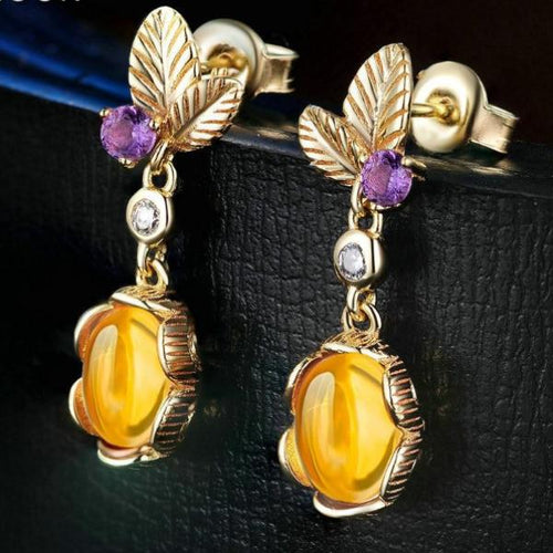 Oval Citrine 925 Sterling Silver Drop Earrings