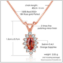 Load image into Gallery viewer, Citrine 925 Sterling Silver 18k Rose Gold Plate Chain Pendant Necklace
