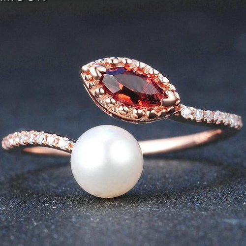 Red Garnet Freshwater Pearl .925 Sterling Silver Jewelry with Rose Gold