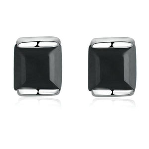 Black Chalcedony 925 Sterling Silver Simple Stud Earrings