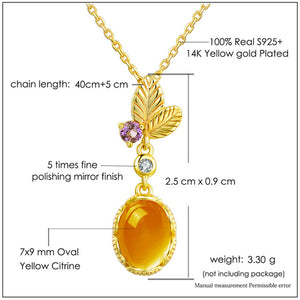 Oval Citrine 925 Sterling Silver Jewelry Pendant Necklace