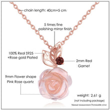 Load image into Gallery viewer, Pink Rose Flower 9mm Rose Quartz Chain Necklace 925 Sterling Silver