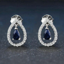 Load image into Gallery viewer, Teardrop Blue Sapphire 925 Sterling Silver Crown Stud Earring