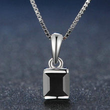Load image into Gallery viewer, Square Black Chalcedony 925 Sterling Silver Simple Chain Pendant Necklace