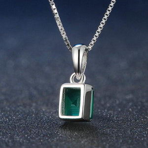 Square Black Chalcedony 925 Sterling Silver Simple Chain Pendant Necklace
