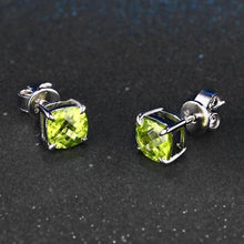 Load image into Gallery viewer, Cushion Cut Peridot 925 Sterling Silver Stud Earrings