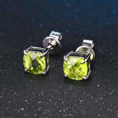 Cushion Cut Peridot 925 Sterling Silver Stud Earrings
