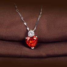 Load image into Gallery viewer, 925 Silver Red Garnet Heart Crystal Pendant Necklace