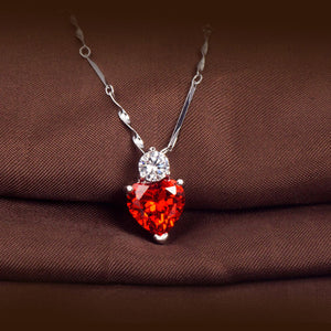 925 Silver Red Garnet Heart Crystal Pendant Necklace