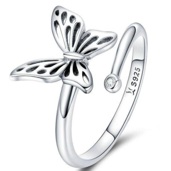 925 Sterling Silver Butterfly Adjustable Finger Ring Cubic Zircon Jewelry