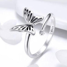 Load image into Gallery viewer, 925 Sterling Silver Butterfly Adjustable Finger Ring Cubic Zircon Jewelry
