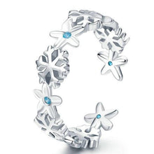 Load image into Gallery viewer, 925 Sterling Silver Winter Snowflake Flower Starfish Finger Ring Jewelry