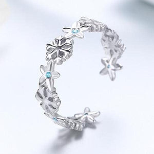 925 Sterling Silver Winter Snowflake Flower Starfish Finger Ring Jewelry