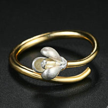 Load image into Gallery viewer, Two Tone Silver & Gold Magnolia Flower Open Design S925 Gold Ring
