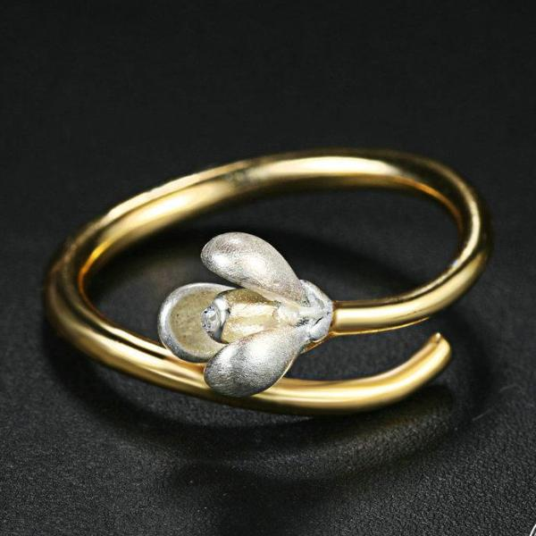 Two Tone Silver & Gold Magnolia Flower Open Design S925 Gold Ring