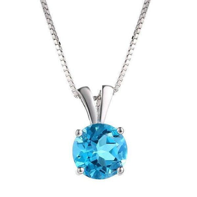 Pendant Necklace Natural Round Cut Blue Topaz 925 Sterling