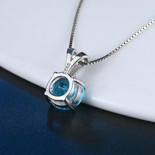Load image into Gallery viewer, Pendant Necklace Natural Round Cut Blue Topaz 925 Sterling