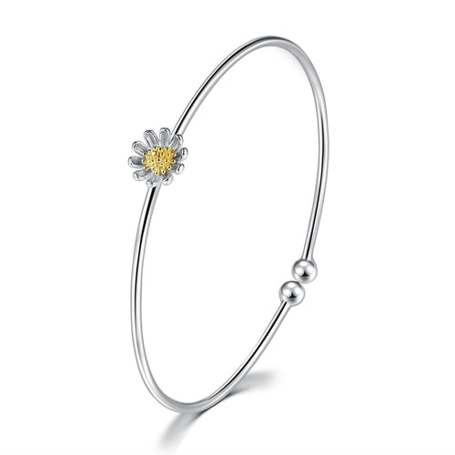925 Daisy Sunflower Bracelet Bangle Stackable Jewelry