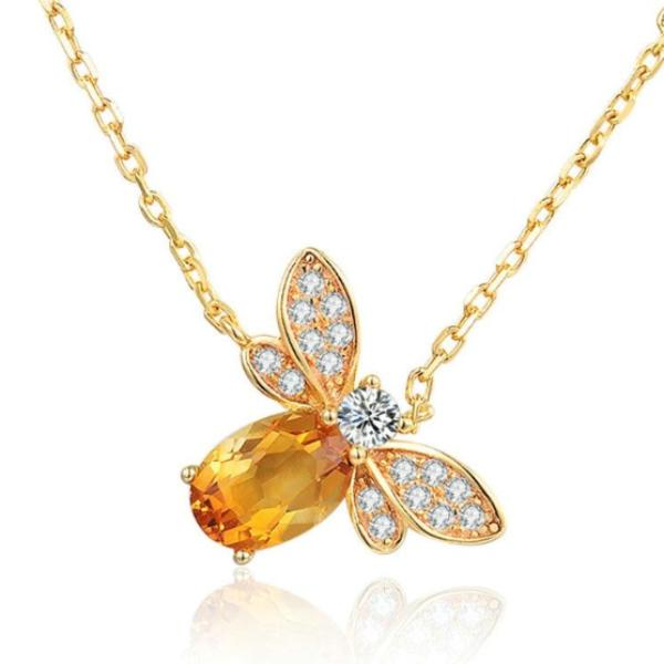 Citrine Bee 925 Sterling Silver Pendant Necklace 14K Plated