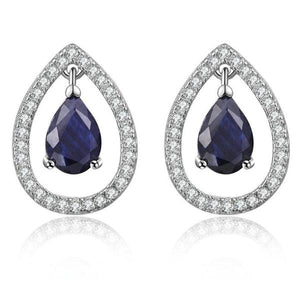 Teardrop Blue Sapphire 925 Sterling Silver Crown Stud Earring