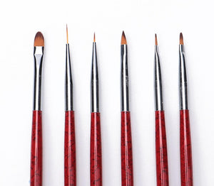 6 Pcs Nail Brushes Set  UV Gel Gradient Liner Brush Acrylic Painting Pen Manicure Nail Art