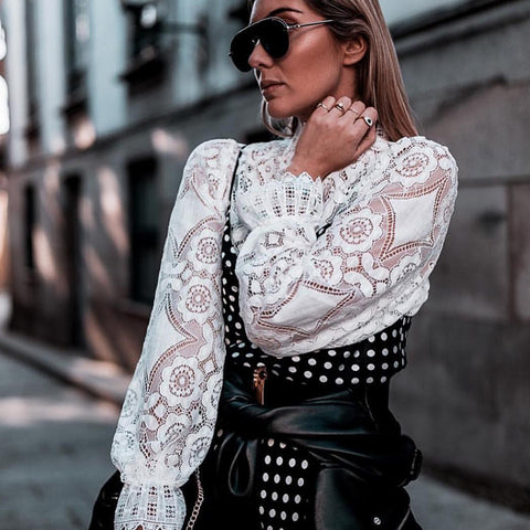 Women Sexy Hollow Out Stand Collar Lace