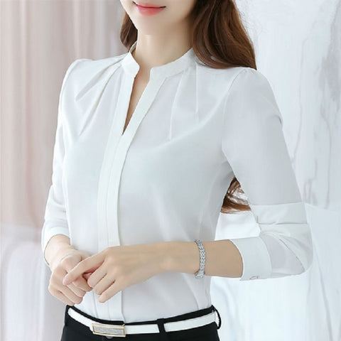 Fashion Women's Solid White Shirts Office Lady