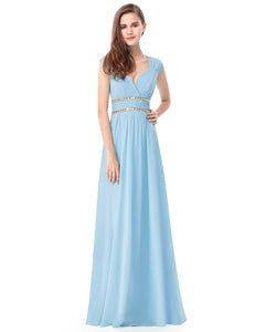 Grecian Style Bridesmaid Dress - Pale Blue - Size 10