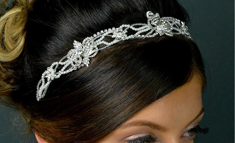 Beads & Diamante Headband with Black Elastic band.