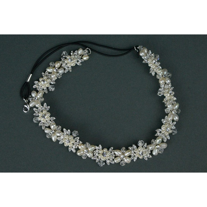 Freshwater Pearls, Diamante & Crystal Headband with Black Elastic Band - TLH3059