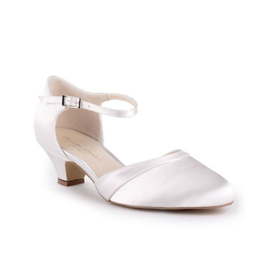 Angela - Ivory Satin Low Heel Two Part Court Shoe