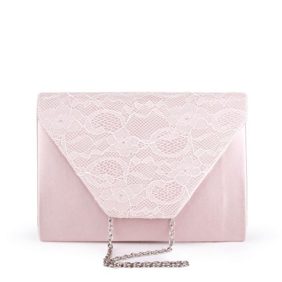 Dameka Blush Satin & Lace Envelope Clutch Bag