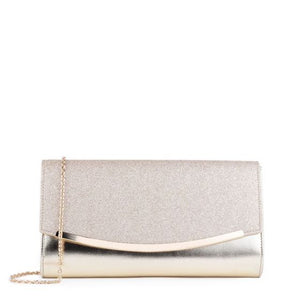 Dezzie Champagne Curved Flap Clutch Bag