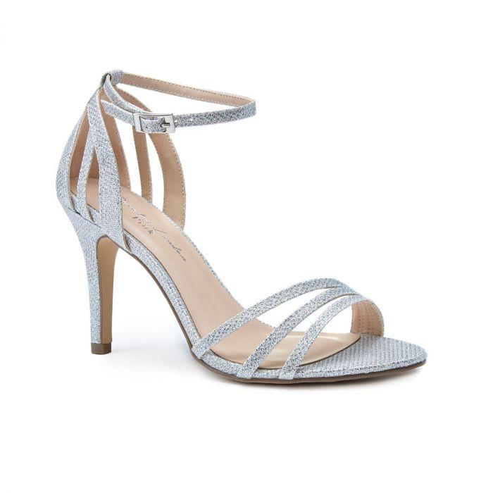 Melody -   Silver High Heel Barely There Glitter Sandal by Paradox London
