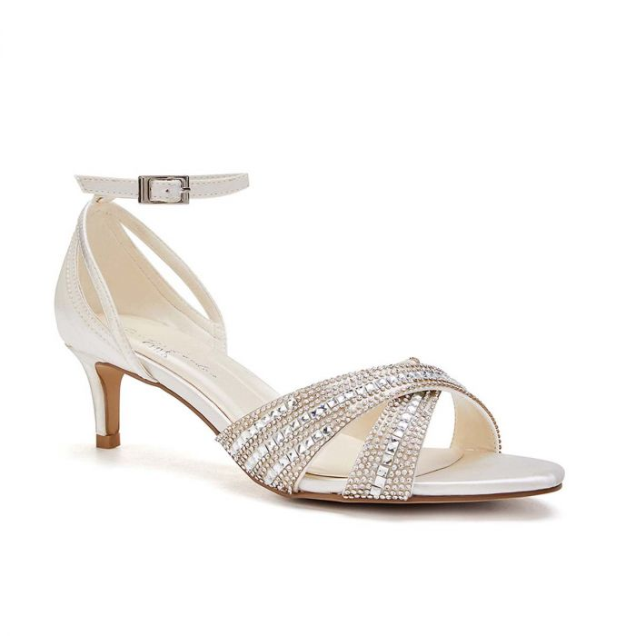 Sabrina - Ivory Low Heel Crystal Cross Front Strap Sandal by Paradox London