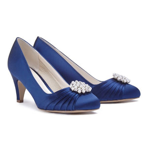 Navy Low Heel Round Toe Court Shoe by