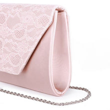 Load image into Gallery viewer, Dameka Blush Satin & Lace Envelope Clutch Bag