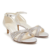 Load image into Gallery viewer, Sabrina - Ivory Low Heel Crystal Cross Front Strap Sandal by Paradox London