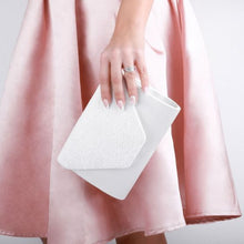Load image into Gallery viewer, Dameka Ivory Satin & Lace Envelope Clutch Bag
