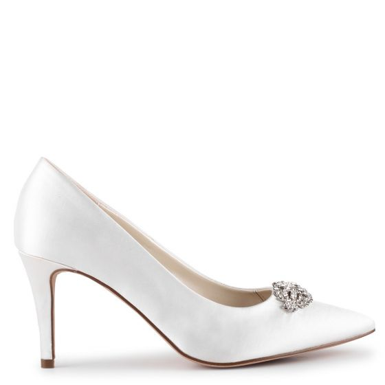 Godiva -  Ivory Satin Mid Heel Court Shoes
