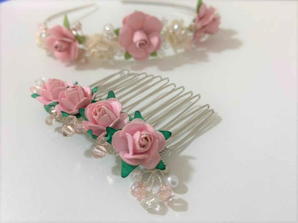 'Handmade with Love' Flower Girl Hair Comb