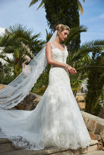 Load image into Gallery viewer, Ivory Lace fit & flair Bridal Gown with lots of sparkle!