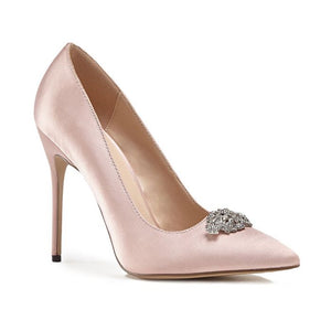 Alandra - High Stiletto Jewelled Blush Court Shoe by Paradox London