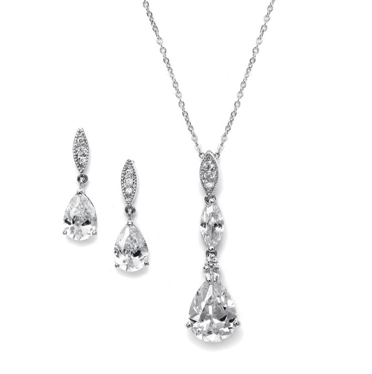 Alexa Simulated Diamond Pendant Set