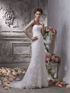Ivory Lace Silhouette Bridal Gown - 5312 Tia by Benjamin Roberts Size 8