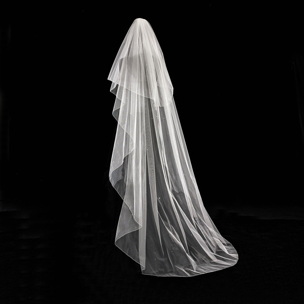 Amy - Classic Ivory Veil with an oversewn edge and Crystal Scatter