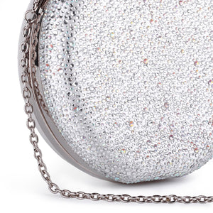 Desirée - Ivory Circular Diamante Handbag by Paradox London