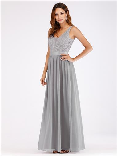 V Neck Sleeveless Chiffon Bridesmaid Dress with lace bodice - Grey