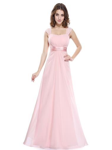 Floor length Chiffon Bridesmaid Dress in Pink