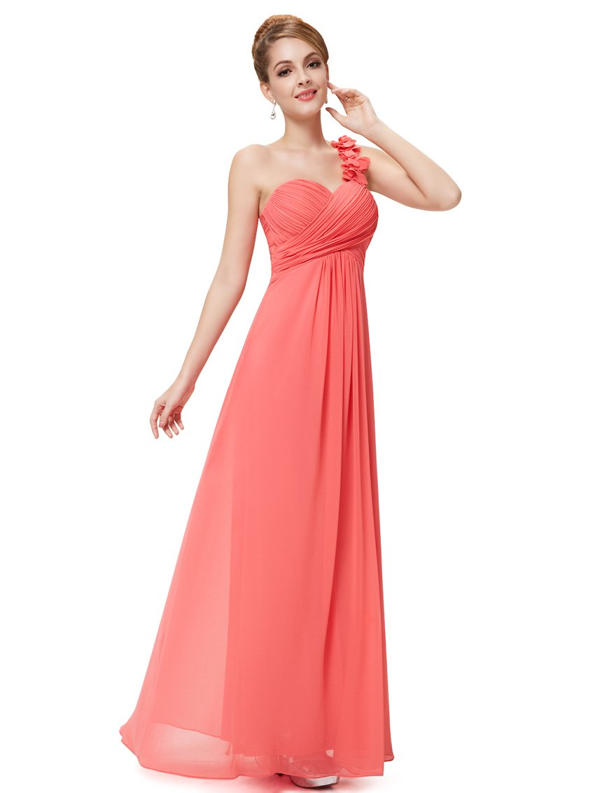 Coral Chiffon One Shoulder Bridesmaid dress